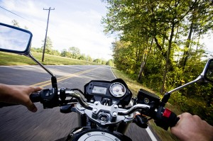first person perspective view of person riding a motorcycle