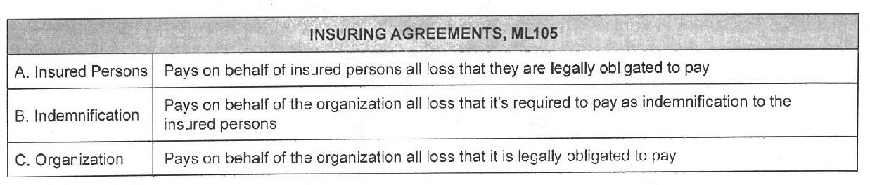 Insuring Agreements, ML105